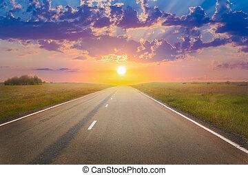 ocaso, encima, el, autopista provinciana