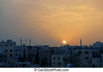 ocaso, encima, la ciudad, de, amman, en, jordania, en el medio, este
