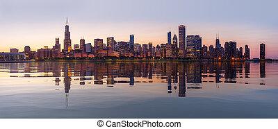 ocaso, encima, perfil de ciudad, chicago, de, observatorio