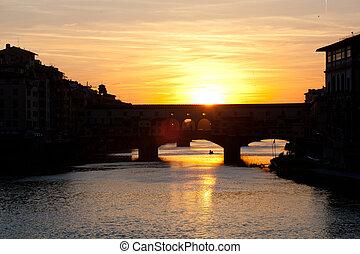 ocaso, encima, puentes, por, el, río arno, en, florencia