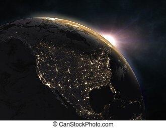 ocaso, encima, tierra de planeta, norteamérica
