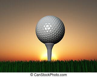 ocaso, golf, o, salida del sol
