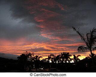 ocaso, hawai, kauai