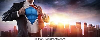 ocaso, hombre de negocios, superhero