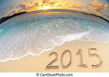 ocaso, mar, año, 2015, nuevo, playa