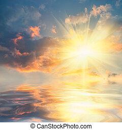 ocaso mar, com, reflexão