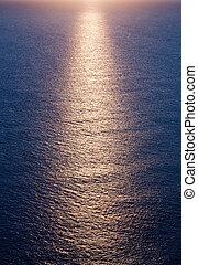ocaso, mar, plano de fondo