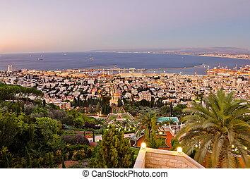ocaso, monte, haifa, durante, israel, vista, puerto, carmel