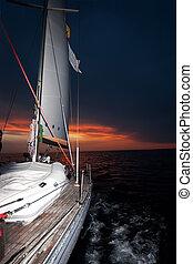 ocaso, Navegación, barco
