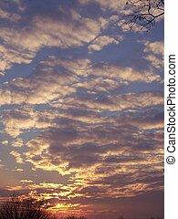 ocaso, nubes