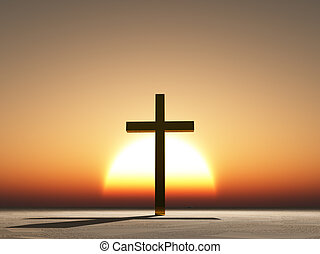 ocaso, o, salida del sol, cruz