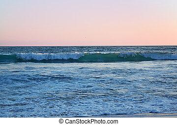 ocaso, ondas