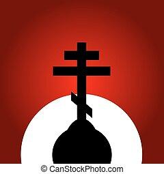 ocaso, ortodoxo, fondo., cruz