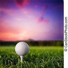ocaso, pelota, tee del golf