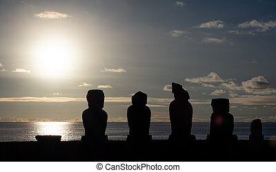 ocaso, plataforma, ahu, moai, tahai, plano de fondo, sol