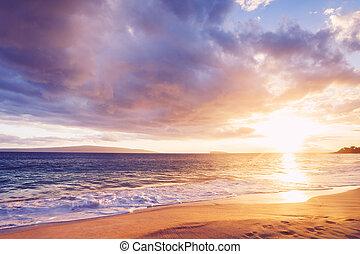 ocaso, playa, hawaiano