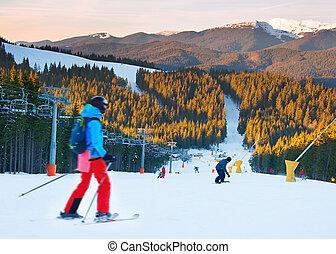ocaso, recurso, esquí