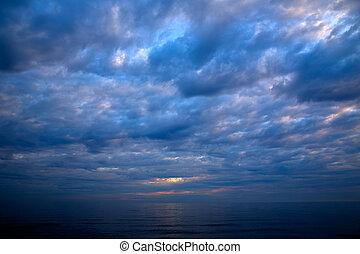 ocaso, salida del sol, encima, mar mediterráneo