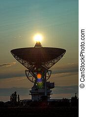 ocaso, telescopio de radio, plano de fondo