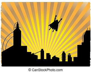 ocaso, vuelo, de, silhouetted, superhero