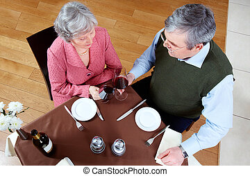 Above view of senior couple at a restaurant