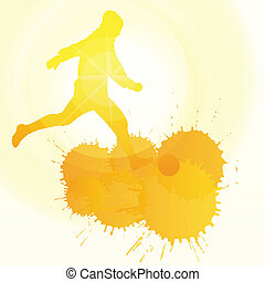 occer players silhouette vector background concept with ink splashes and sun for poster