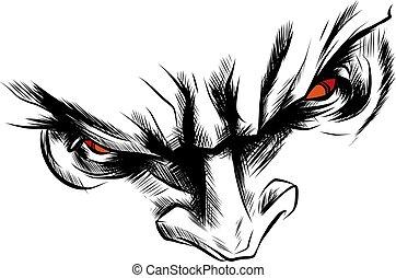 occhi, arrabbiato, demone, illustrazione, faccia, vettore, rosso