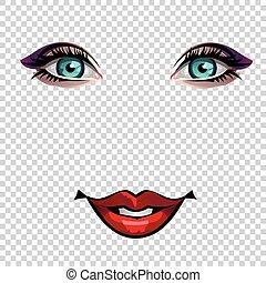 occhi, arte, giovane, illustrazione, labbra, vettore, pop, ragazza