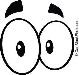 occhi, bianco, nero, pazzo, cartone animato