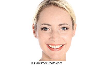 occhi blu, donna, attraente, sorridente