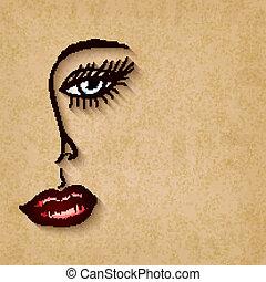 occhi blu, donna, vecchio, faccia, labbra, fondo, rosso