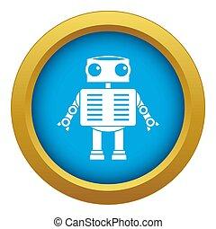 occhi blu, grande, robot, isolato, icona