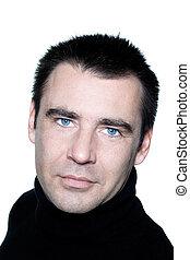 occhi blu, ritratto, uomo sorridente, caucasico, bello