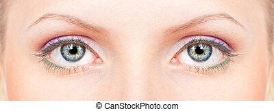 occhi, blu-verde