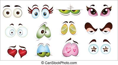 occhi, carattere, cartone animato