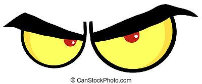 occhi, cartone animato, arrabbiato