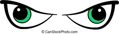 occhi, cartone animato, male
