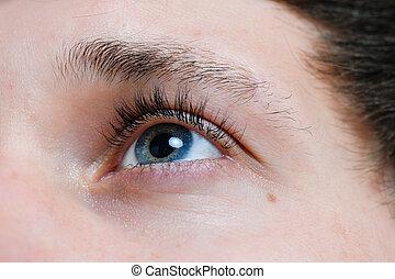 occhi, di, uno, giovane, closeup
