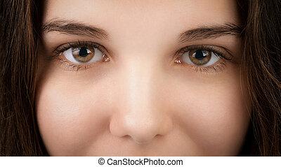 occhi, donna, nocciola, giovane, closeup, ritratto
