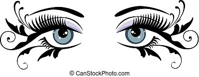 occhi, floreale, blu