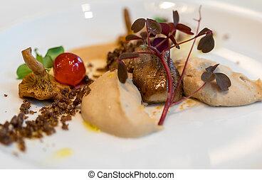 occhi, foie, culinario, palato, mushrooms., festa, lavoro, ...