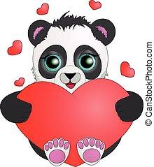 occhi, heart., valentine, grande, day., presa a terra, panda
