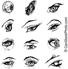 occhi, illustrazione, femmina