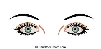 occhi, isolato, illustrazione, realistico, fondo, bianco