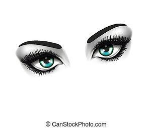 occhi, moda, occhio, bellezza, concept., due, fondo, bianco
