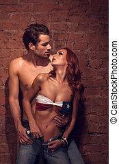 occhi, moda, shoot., modelli, coppia, dall'aspetto, altro, passione, ciascuno, proposta, sexy