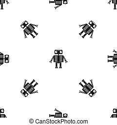 occhi, modello, seamless, robot, nero, grande