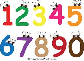 occhi, numero, cartone animato