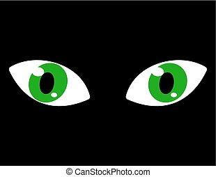 occhi pesti, sfondo verde