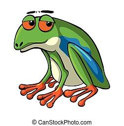 occhi, rana verde, triste